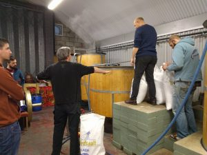 Chorllton Homebrewers - Loading mash tun